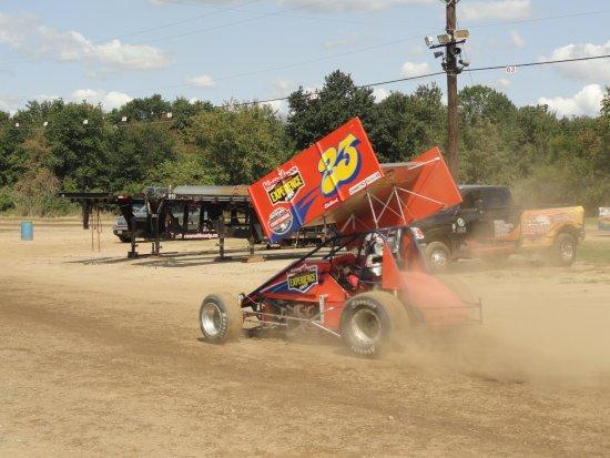 New Egypt, NJ: me pulling into the pit at the Bridgeport, NJ track