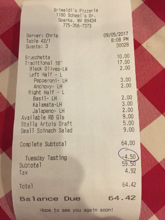 Sparks, NV: what we ordered, our bill