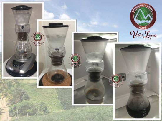 Sevilla, Colombia: Step by Step...  A great Cold Drip Coffee Pot preparation.