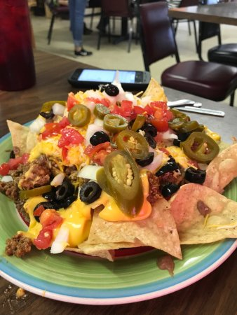 Nocona, TX : Nachos. This is a dinner plate. Portions huge