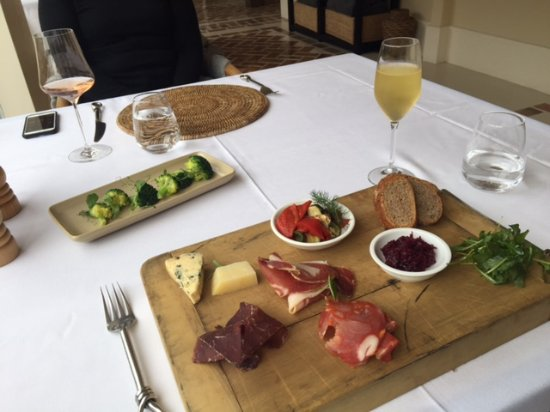 Featherston, New Zealand: Charcuterie & Cheese Board with White Wine for Lunch