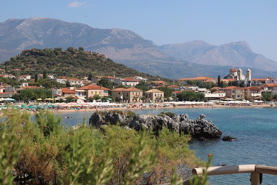 View from Liastres restaurant towards Stoupa bay