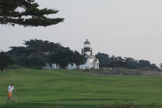 Point Pinos Lighthouse: View of lighthouse across the golf course
