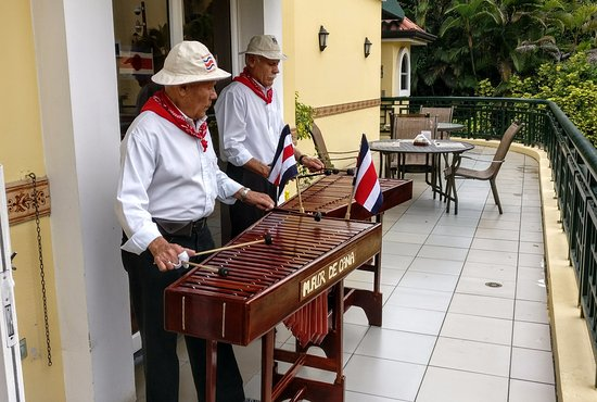 San Rafael de Escazu, Costa Rica: Marimba band for the breakfast on Independence Day