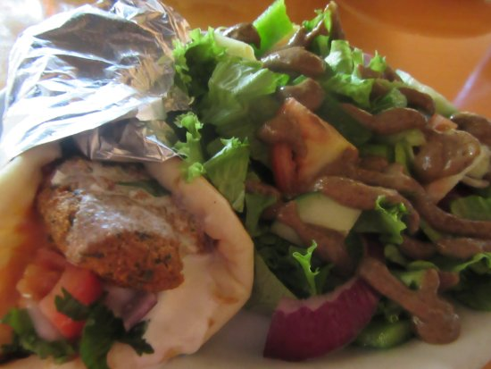 Muncie, IN: Falafel Wrap with a Balsamic Side Salad.