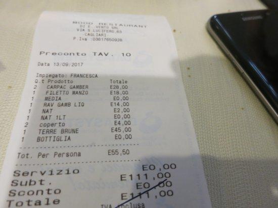 The bill - Picture of Mood - Restaurant, Cagliari - TripAdvisor