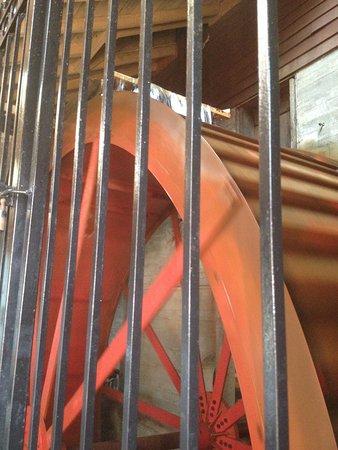 Bloomfield Hills, MI: water wheel powering the mill