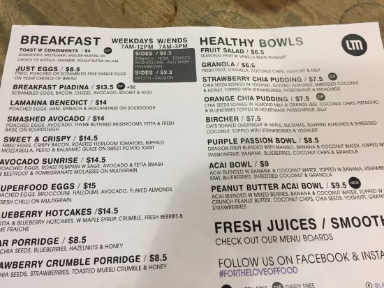 Essendon, Australia: Breakfast menu