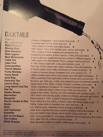 Bistro 109: Cocktail menu - loved the drink history