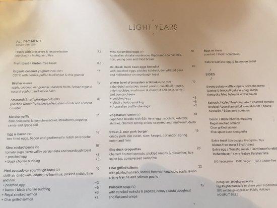 Hawthorn, Avustralya: menu