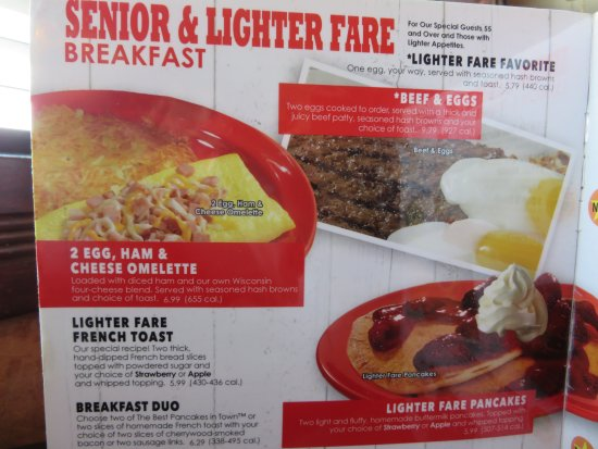 Ontario, OR: Senior lighter fare menu