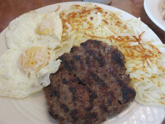Ontario, OR: Beef patty with eggs, hash browns and toast