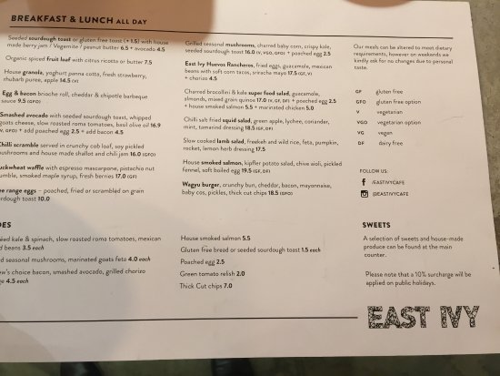 Ivanhoe, Australia: menu