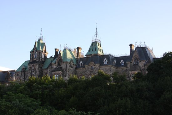 Ottawa, Canada: East Block parliament building as seen from the park.