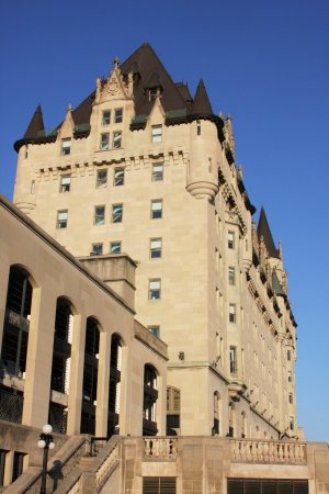 Ottawa, Canada: Chateau Laurier as seen from the park. You can access the park along the side where the steps ar
