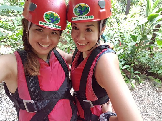 Quepos, Costa Rica: My sister and I gearing up for the Superman zipline