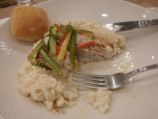 Athens, GA: Mahi Mahi over risotto with yeast rolls and julienne vegetables
