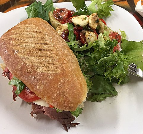 Inverness, FL: This was the toasted Roast beef Pannini sandwich with the side salad combo
