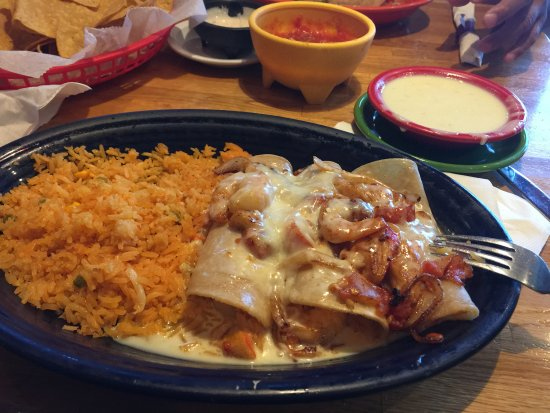 Suffolk, VA: my seafood enchiladas and rice