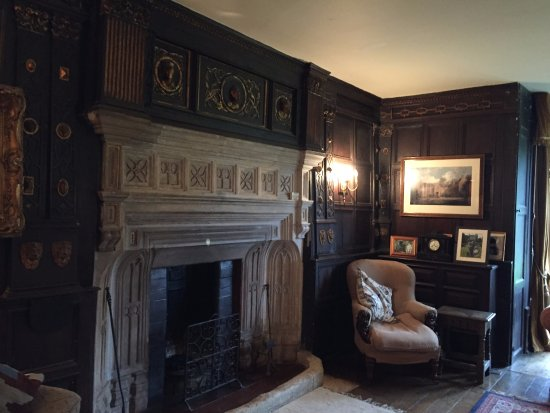 Tetbury, UK: Beautiful fireplace in one of the beautifully paneled rooms.
