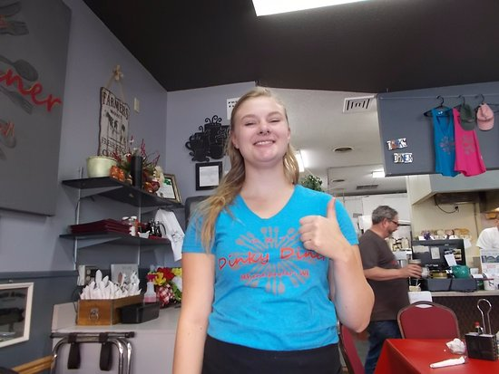 Having fun at R & T's Dinky Diner, Rhinelander, Wisconsin.