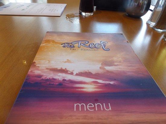 The Reef: the menu