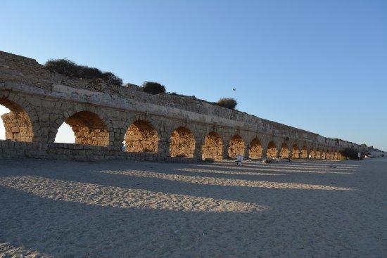 Long roman ruin aqueduct, caesarea