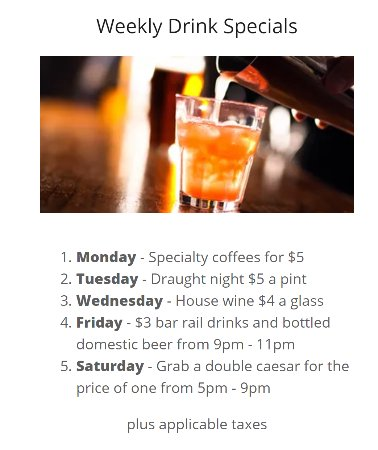 Dunnville, Canada: Our weekly drink specials! Cheers!