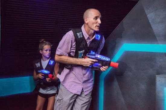 Town and Country, MO: Compete in Amp Up's three-level, black-light, music-filled laser tag arena