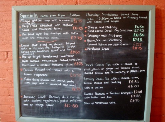 Moreton, UK: Menu for our day
