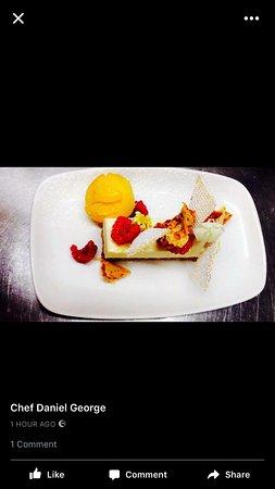 Bradford-on-Avon, UK: White Chocolate & Citrus Cheesecake with Stem Ginger Syrup