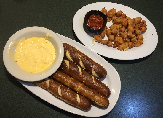 Green Mill - Winona, Minnesota - Pretzel Sticks and Ellsworth Cheese Curds appetizers