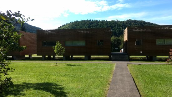 Furnas Lake Villas: Rear view of the apartments (joined in pairs by a central walkway)