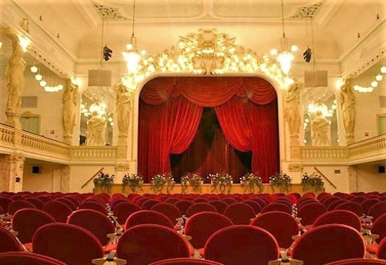 Zwickau, Duitsland: Der Terassensaal von innen mit Bühne