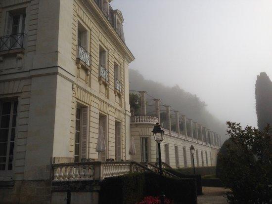 Chateau de Rochecotte: View up to terrace
