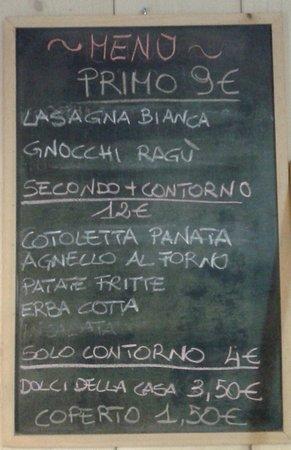 Frontone, Italy: costo menù del giorno