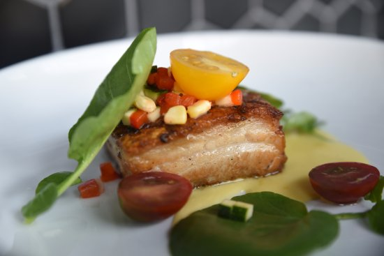 Lawrence, KS: Glazed pork belly served with zucchini and red pepper relish-delish!