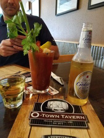 Osakis, MN: bloody mary's are FANTASTIC.  The spicy one is hot, but delicious!
