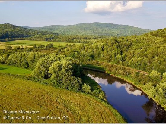 Sutton, Canada: Missisquoi River Aerial View