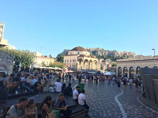 Monastiraki: The Square fills up at evenings