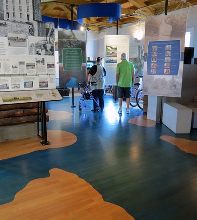 Roanoke Rapids, NC: Visitors can follow the river and its tributaries painted on the floor of the museum.