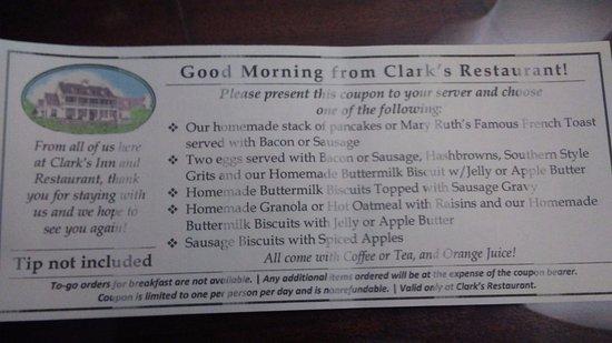 Clark's Inn : Wonderful breakfasts included