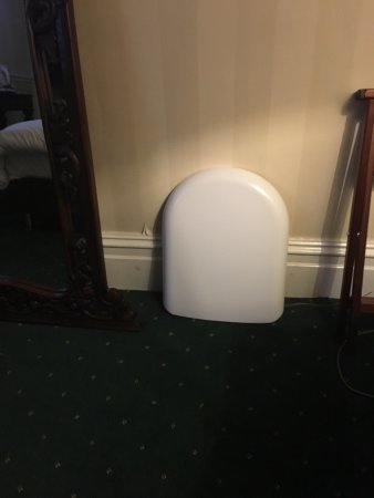 Childer Thornton, UK: Door won't shut, random mirror, very random toilet seat!!