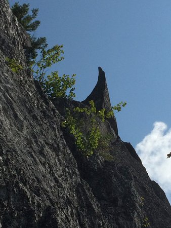 "Grafton Notch State Park: ""Shark's fin"" above the slab caves"
