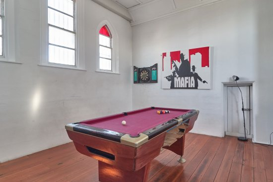 Jailhouse Accommodation: Pool and Darts from former Warden Observation Area