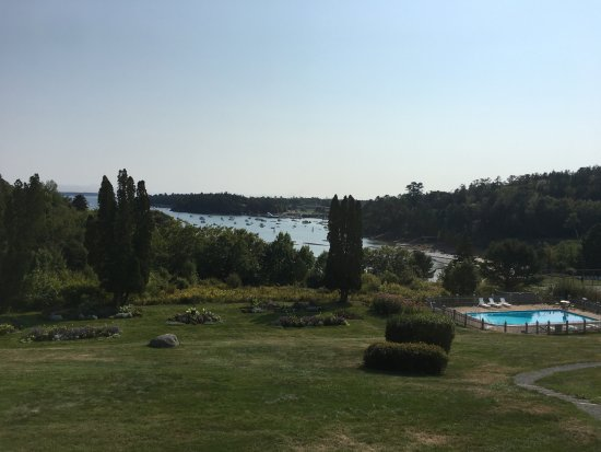View of Northeast Harbor and gardens from deck