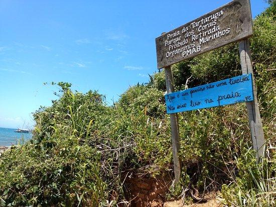 Tartaruga Beach : Placa indicando região de proteção ambiental e avisando para não jogar lixo.