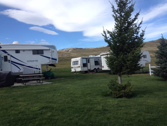 Livingston, MT: Great Rv Park with trout pond, waterfall and fire pit