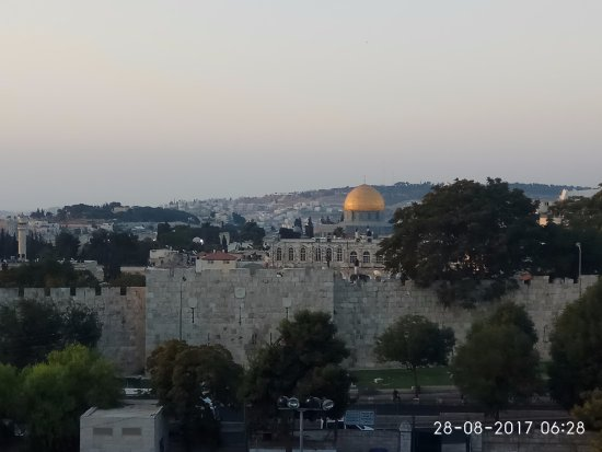 Holy Land Hotel: View from our hotel in the early morning (Room 333 level 3)