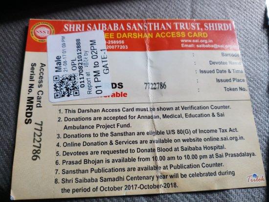 Shri Saibaba Sansthan Temple: access card
